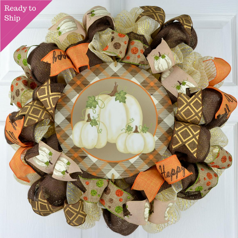 Plaid Pumpkin Wreath - Fall Thanksgiving Deco Mesh Front Door Wreath
