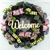 Spring Welcome Wreath | Floral Everyday Door Wreath | Moss Green Pink Ivory Black | Gift for Mom - Pink Door Wreaths