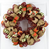 Maroon shimmer thanksgiving wreath with burlap and ribbons