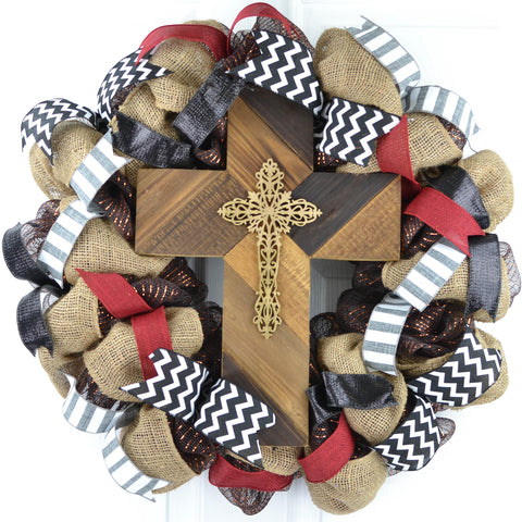 Maroon and Black Cross Mesh Front Door Wreath