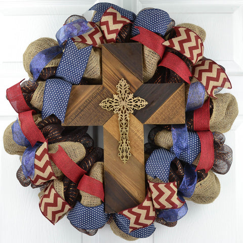 Brown Burlap Rustic Cross Mesh Front Door Wreath; Navy Maroon Burgundy White | Mother's Day Gift
