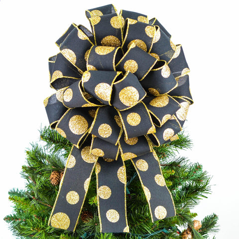 Black and Gold Bow Christmas Tree Toppers | Holiday Tree Bow with Streamers