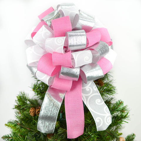 Pink White and Silver Bow Tree Topper | Big Present Bow | Christmas Tree Bow | Gift Box Bow - Pink Door Wreaths
