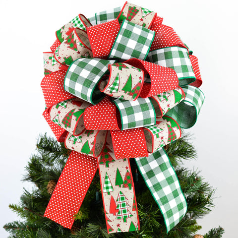 Red Emerald White Buffalo Check Christmas Tree Bow - Present Bow - Pink Door Wreaths