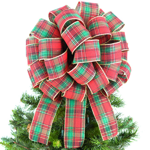 Tartan Plaid Red Green Gold Bow Tree Topper - Christmas Tree Bow