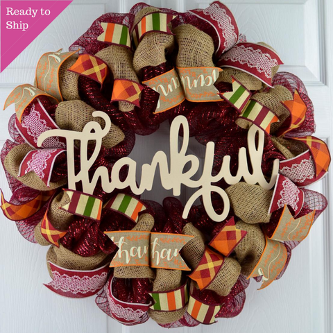 Ivory Thankful Wreath | Happy Fall Thanksgiving Deco Mesh Front Door Wreath