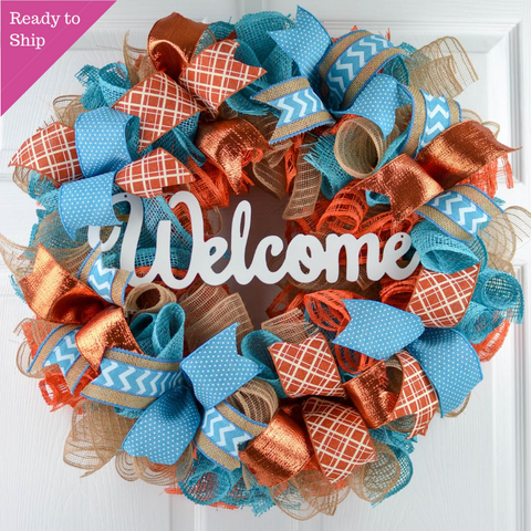 Orange and Turquoise Fall Wreath - Thanksgiving Welcome Wreath - Everyday Door Wreath - White Teal