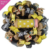 Pencil Teacher Classroom Wreath - Back to School Decorations - End of Year Gift - Black Yellow
