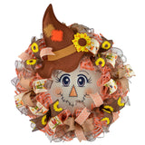 Sunflower Scarecrow Mesh Front Wreath | Thanksgiving Fall Front Door Wreath