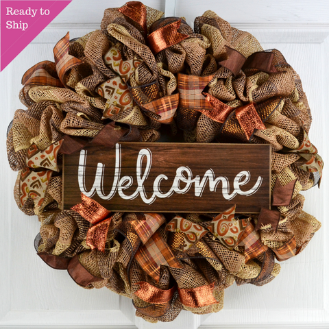 Fall Door Wreaths | Thanksgiving Welcome Deco Mesh Wreath - Pink Door Wreaths