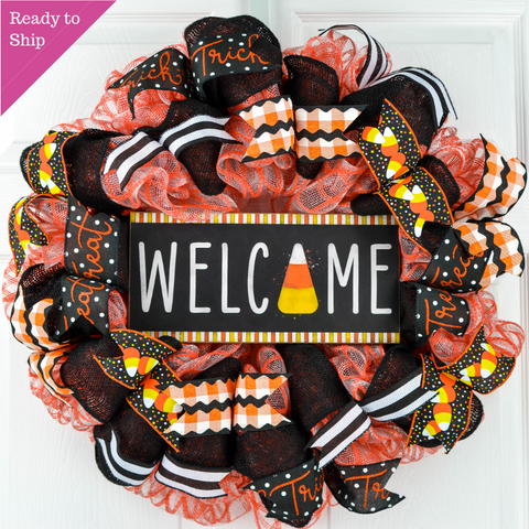 Candy Corn Welcome Halloween Door Wreaths - Trick or Treat Orange Mesh Wreath