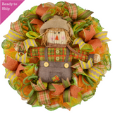 Yellow Scarecrow Mesh Front Door Wreath - Thanksgiving Fall Wreath