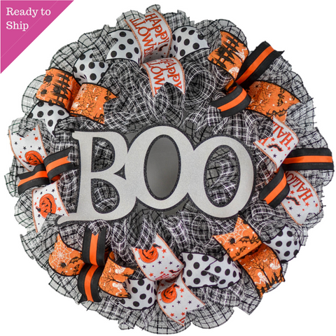 Halloween Wreath for Door | Ghost Wreath | Ghost Front Door Wreath - Pink Door Wreaths