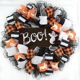 Black and White and Orange wreath with Boo Ghost Halloween sign in the middle