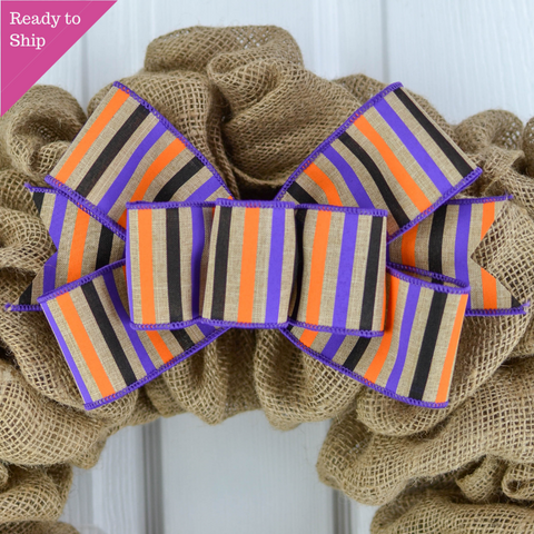 Halloween Striped Wreath Bow - Orange Purple Black Burlap Wreath Embellishment for Making Your Own - Pink Door Wreaths