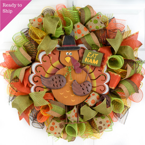 Turkey Wreath | Eat Ham Fall Thanksgiving Deco Mesh Front Door Wreath; Brown Orange