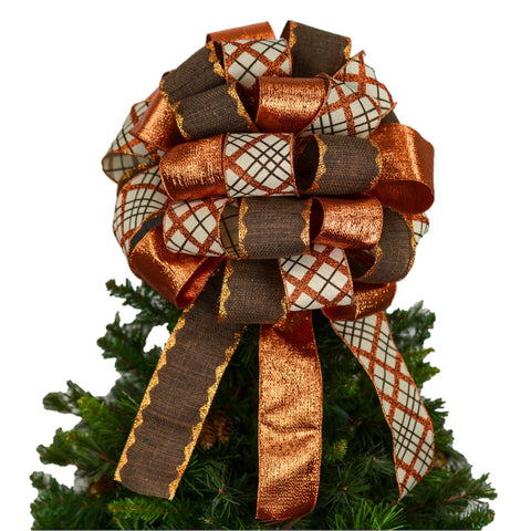 Fall Thanksgiving Bow - Lantern Topper Bow - Present Bow