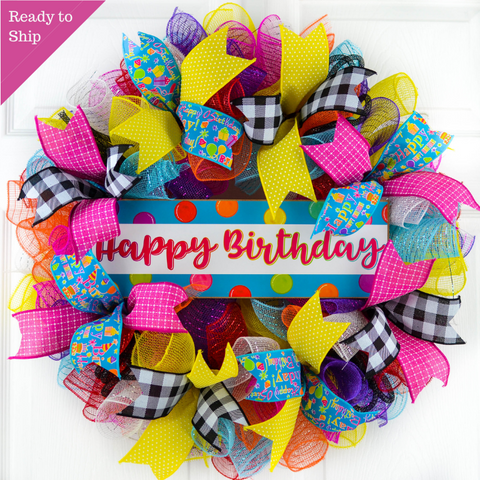 Happy Birthday Mesh Wreath | Family Birthday Front Door Decor | Pink Red Blue White Yellow… - Pink Door Wreaths