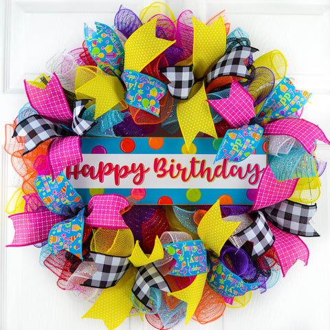 Happy Birthday Mesh Wreath | Family Birthday Front Door Decor | Pink Red Blue White Yellow…