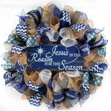 Jesus is the Reason Christmas Wreath - Church Christian Religious Front Door Wreath