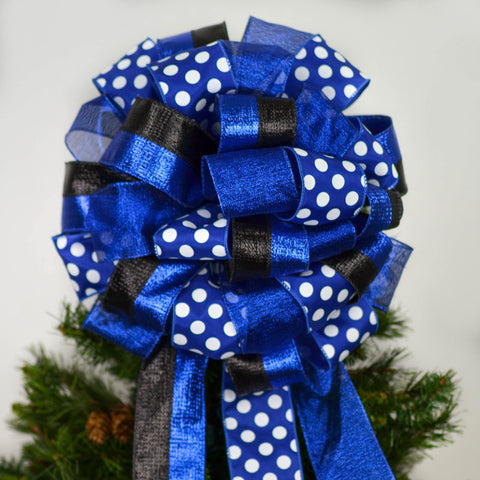 Police Appreciation Law Enforcement Bow; Royal Blue White