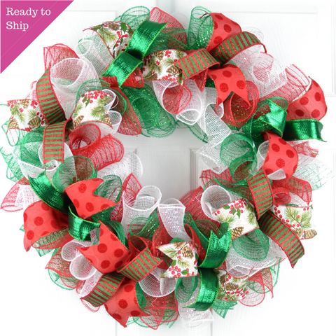 Christmas Wreaths | Holiday Mesh Front Door Wreath | Red White Emerald Green
