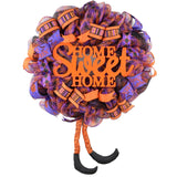 Orange Halloween Wreath | Home Sweet Home Witch Front Door Wreath | Purple Black