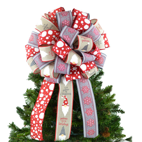 Gnome Red Grey White Christmas Tree Bow - Present Bow - Burlap Farmhouse Christmas Tree Topper - Pink Door Wreaths
