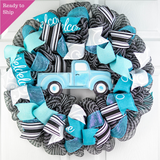 Farmhouse Truck Wreath - Blue Black White Mother's Day Everyday Wreath - Pink Door Wreaths