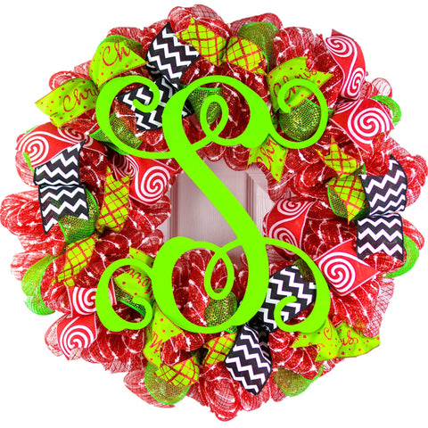 Monogram Christmas Mesh Door Wreath - Candy Cane Decorations - Red White Lime Green Black - Pink Door Wreaths