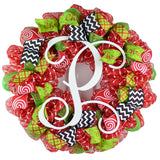 Monogram Christmas Mesh Door Wreath - Candy Cane Decorations - Red White Lime Green Black