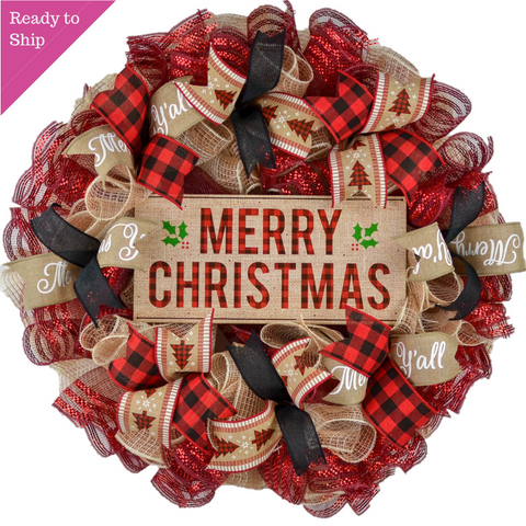 Red Black and Burlap Merry Christmas Buffalo Plaid Wreath