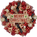 Buffalo Plaid Christmas Wreath with red and black and burlap ribbons