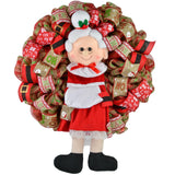 Mrs. Claus Wreath | Santa Christmas Mesh Outdoor Front Door Wreath