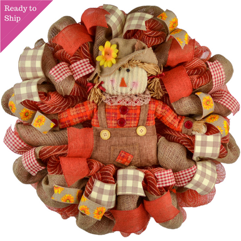 Red Scarecrow Mesh Front Door Wreath - Thanksgiving Fall Wreath