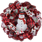 Snowman Wreath - Welcome Buffalo Plaid Christmas Mesh Front Door Wreath - Pink Door Wreaths