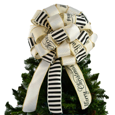 Black Ivory and Gold Shimmer Christmas Tree Bow with Tails