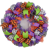 Halloween Wreaths | Deco Mesh Outdoor Front Door Wreath; Black White Purple Orange Lime Green : H2 - Pink Door Wreaths