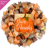Give Thanks Wreath | Pumpkin Thanksgiving Deco Mesh Front Door Wreath - Pink Door Wreaths