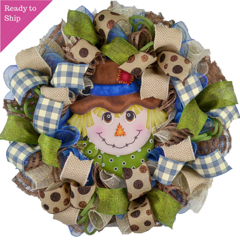 Blue Scarecrow Mesh Front Door Wreath - Thanksgiving Fall Wreath