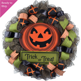 Trick or Treat Pumpkin Door Wreaths - Halloween Jack O Lantern Thanksgiving
