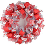 Christmas Mesh Door Wreath; Red Silver