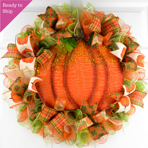 Thanksgiving Pumpkin Door Wreaths - Halloween Fall Autumn Orange