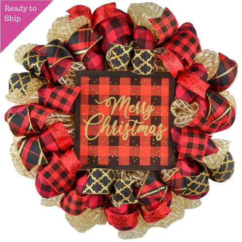 Gold wreath with red and black burlap and ribbons with Merry Christmas Sign