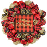 Gold wreath with Buffalo Plaid ribbons and Merry Christmas sign