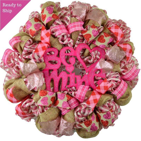 Valentine's Day Wreath - Be Mine Wreath - Valentine Mesh Door Wreath