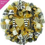Black and Gold Love Valentines Wreath