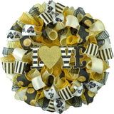 Gold and Black and Ivory Valentine's Day Wreath with Love sign