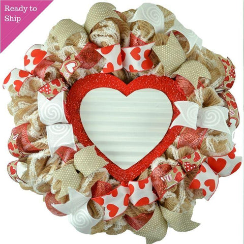 Rustic Valentines Wreath - Wreath for Valentine's Day - Valentine Mesh Door Wreath