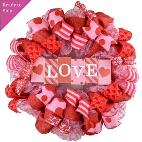 Valentine's Day Mesh Door Wreath - Red White Pink Love
